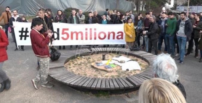 """Протест """"1 од 5 милиона"""" због сече дрвећа на Калемегдану"""