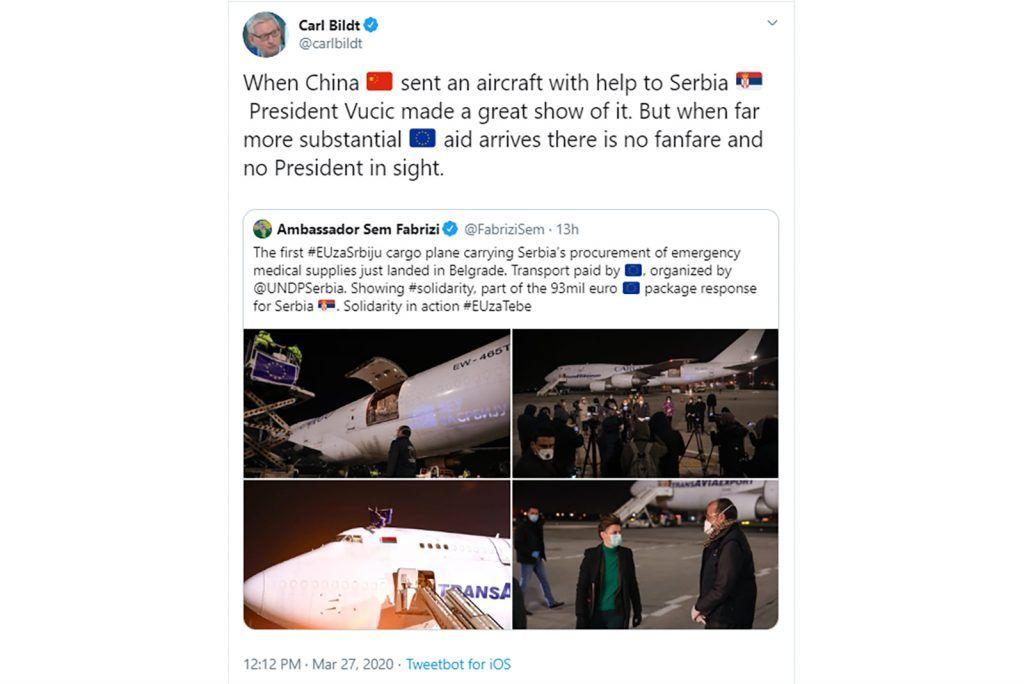 Kada stigne pomoć EU nema fanfara i predsednika Vučića
