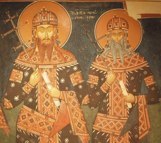Цар Стефан Урош V и краљ Вукашин, феска манастира у Псачи Фото: Wikimedia Commons