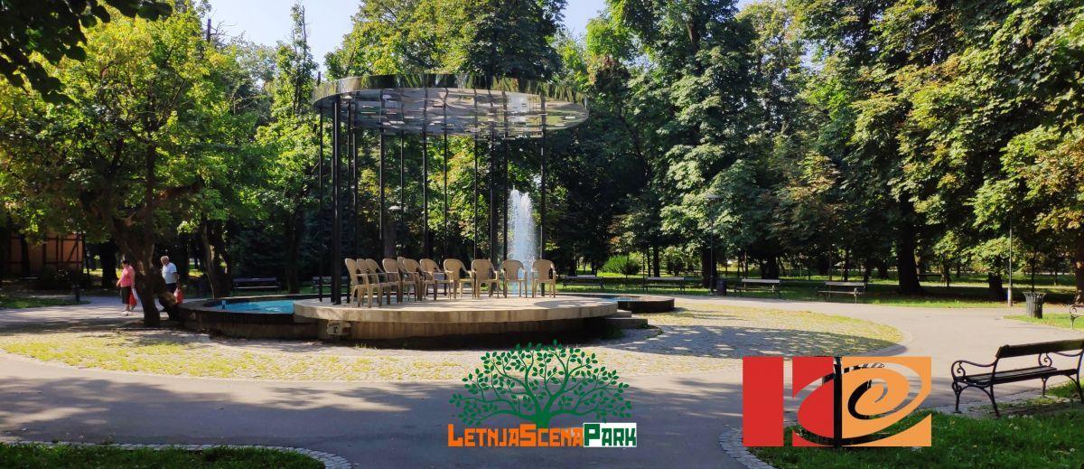 Letnja scena park - žurke kod fontane