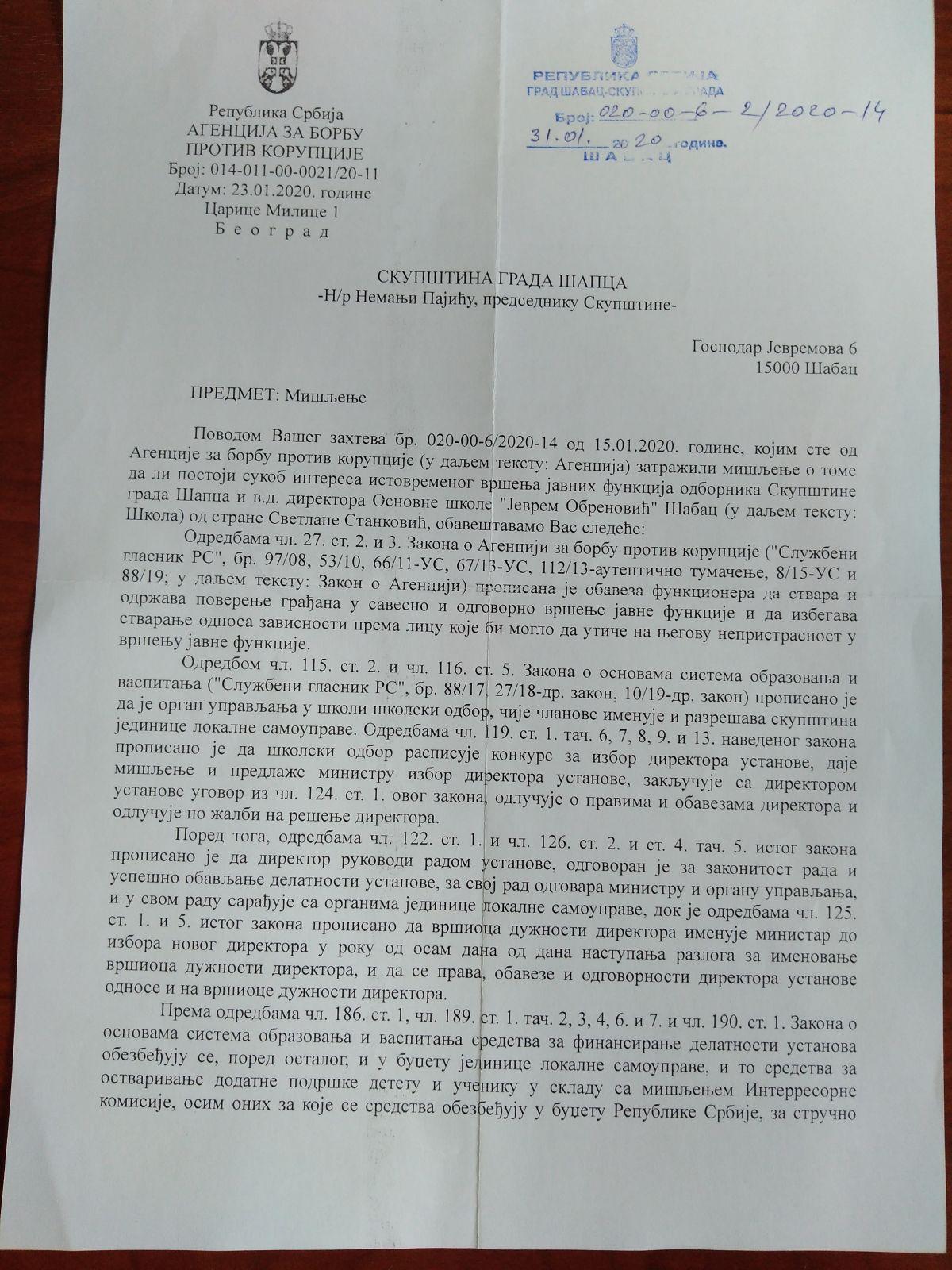 Svetlana Stanković u sukobu interesa