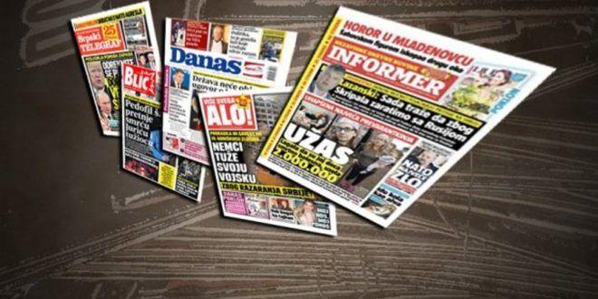Насловне стране дневних новина