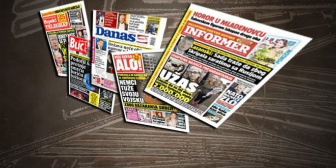 Naslovne strane beogradskih dnevnika
