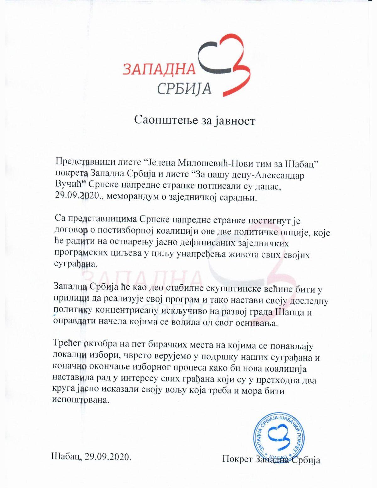 Memorandum o zajedničkoj saradnji sa SNS