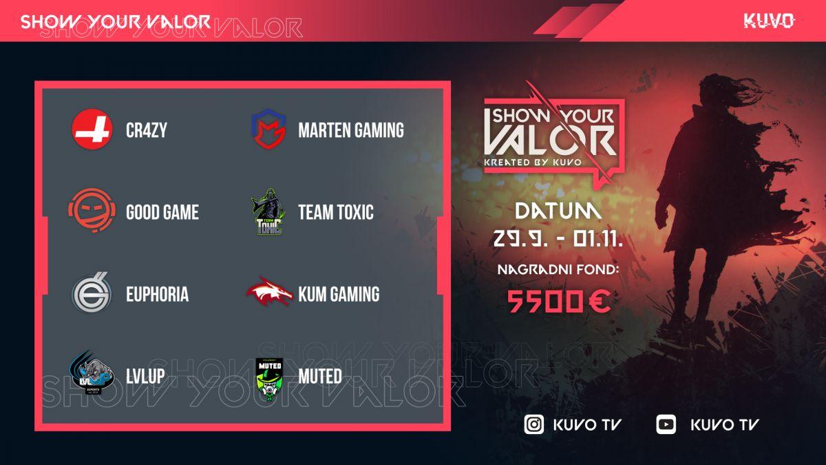 """Završene kvalifikacije turnira """"Show Your Valor"""" KUVO TV dodeljuje 5.500 evra najboljim gejmerima"""