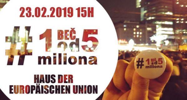 """23. фебруара скуп подршке у Бечу """"1 од 5 милиона, Беч"""""""