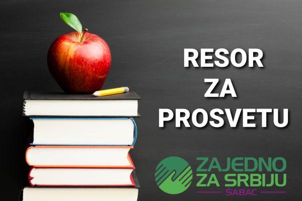 Саопштење Ресорног одбора за просвету Градског одбора странке Заједно за Србију Шабац