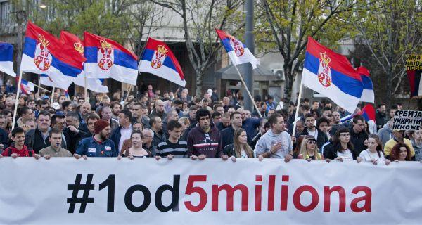 Испред Дома Народне скупштине у Београду данас протест Сви као један - Један од пет милиона