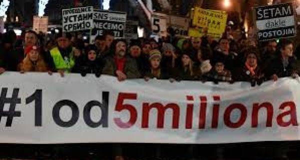 """Протести """"1 од 5 милиона"""" широм Србије"""