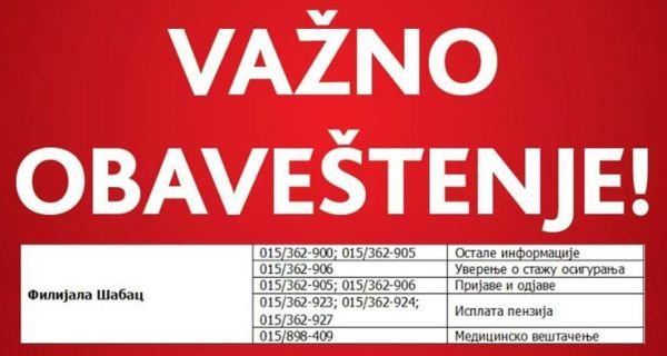 Filijala PIO fonda Šabac: Bez prijema stranaka u šalter sali i kancelarijama
